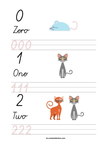 cats numbers free printable