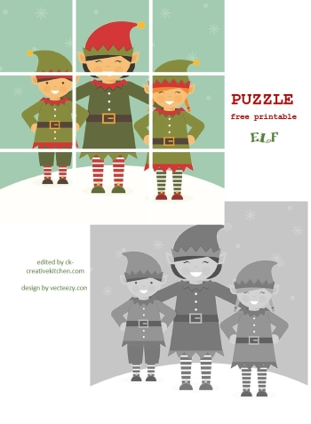 winter elf puzzle free printable