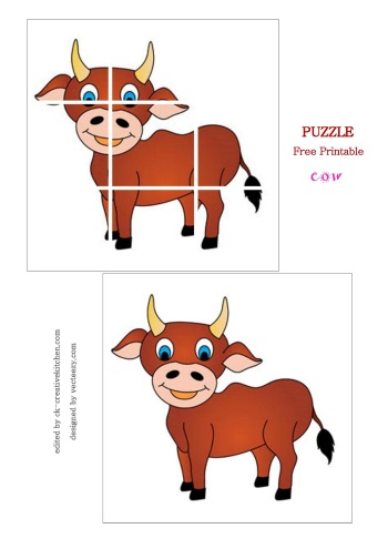 image relating to Printable Puzzles for Preschoolers named Pets - Preschoolers Puzzle totally free printable - Imaginative Kitchen area