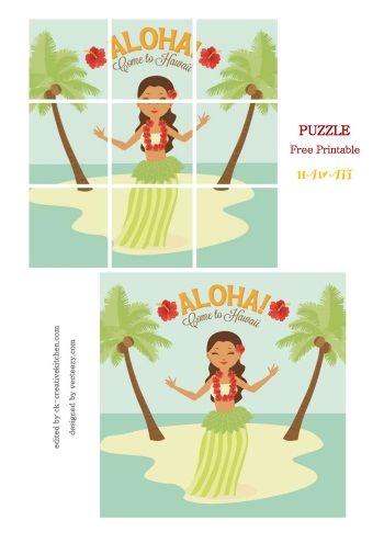 puzzle free printable hawaii girl