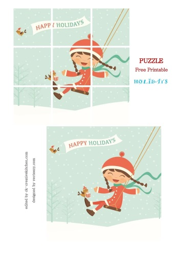 puzzle free printable holiday girl