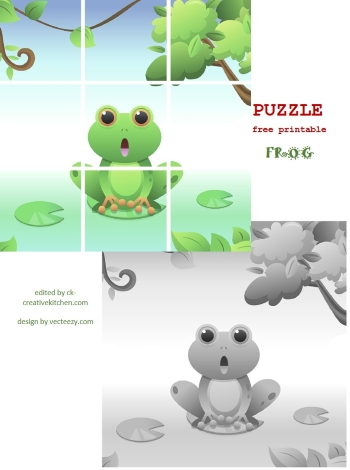 summer frog puzzle free printable