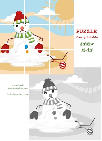 spring snowman puzzle free printable