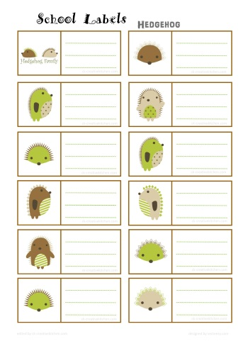 hedgehog school labe free printable