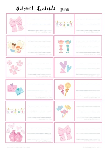 pink school label free printable