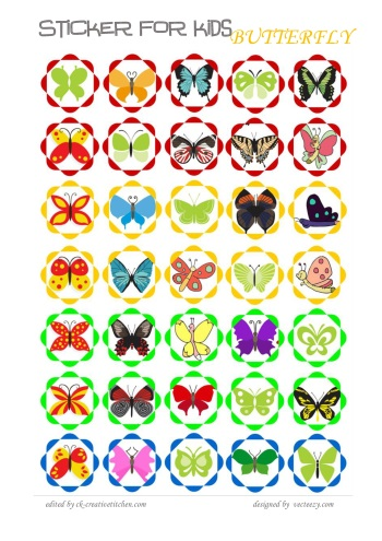 reward sticker for kids butterfly