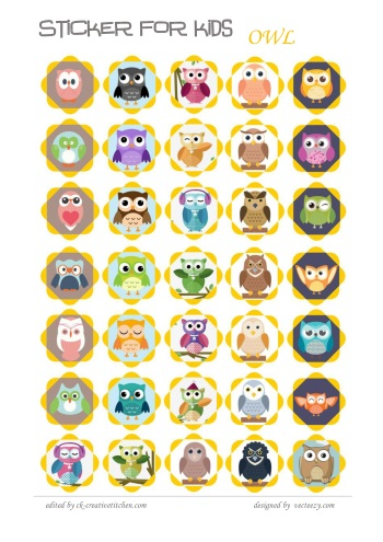 reward sticker for kids owl