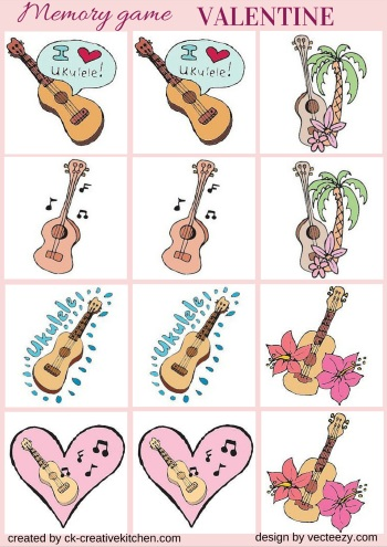 valentine day guitar matching memory game free printables
