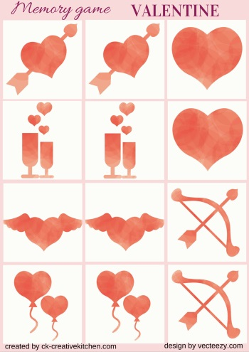 valentine matching memory game free printables
