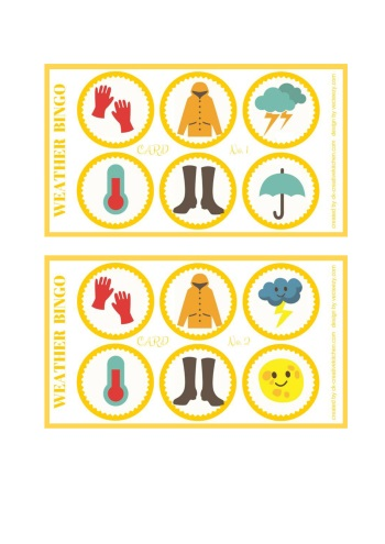 image about Printable Bingo Cards for Kids known as Temperature - Bingo card totally free printables - Artistic Kitchen area