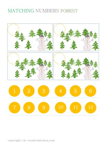 numbers matching card winter forest