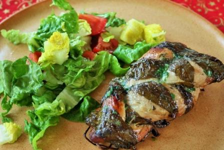 Twisted pork tenderloin with ramsons