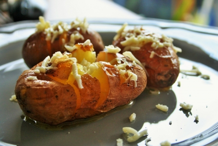 Baked potato with garlic butter
