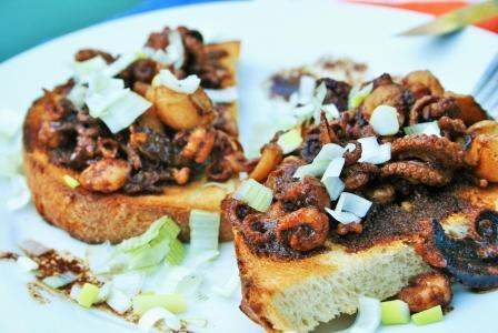 Sauteed seafood toast