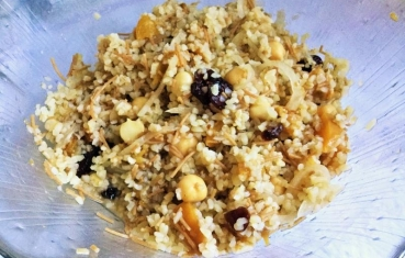 Bulgur,  peach and chickpea salad