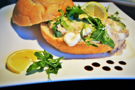Tuna salad sandwich with celery and rucola