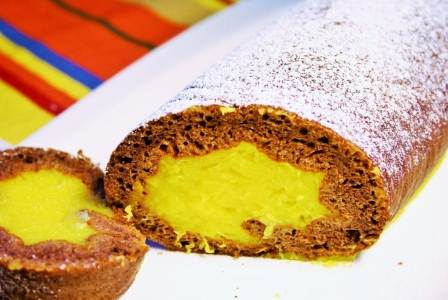 Chocolate orange swiss roll