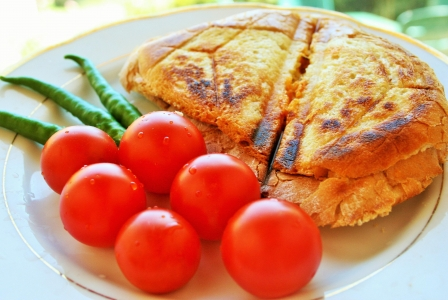Grilled cheese sandwich with cherry tomato