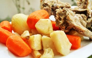 Pork neck bones with vegetables