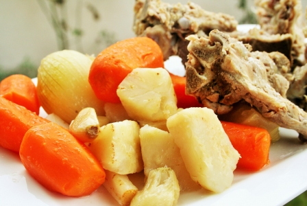 Pork neck bones with vegetables
