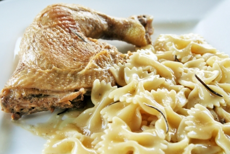 Rosemary chicken with farfalle