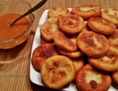 Potato cake with apricot jam