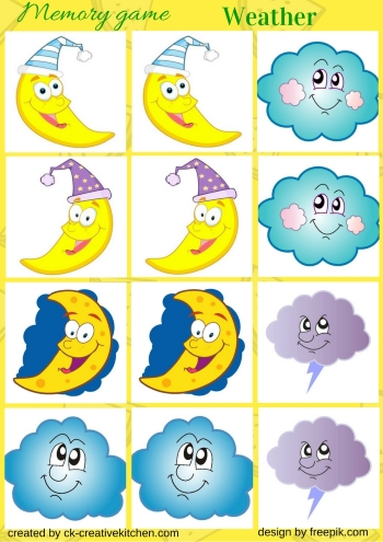weather, memory game. free printable, moon, sun